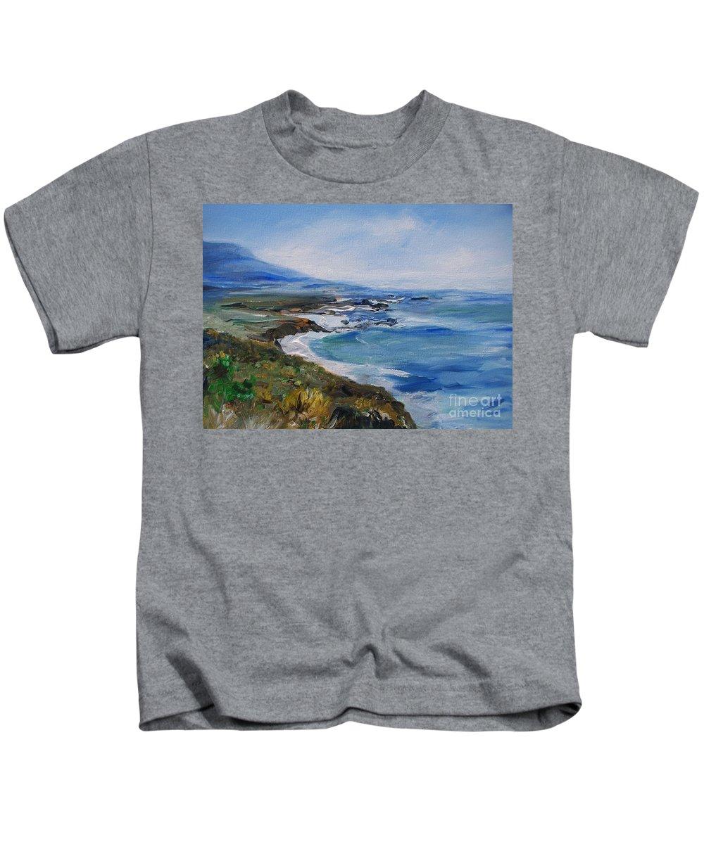 California Coast Kids T-Shirt featuring the painting Big Sur Coastline by Eric Schiabor