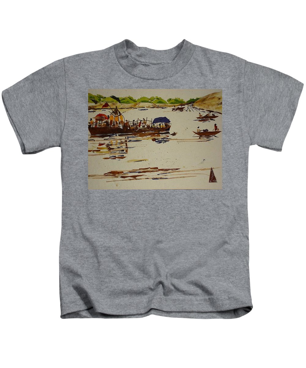 River Scene Kids T-Shirt featuring the mixed media Holy Trip by Basant Soni