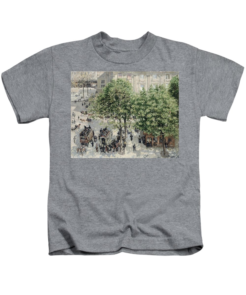 Impressionist Kids T-Shirt featuring the painting Place Du Theatre Francais by Camille Pissarro