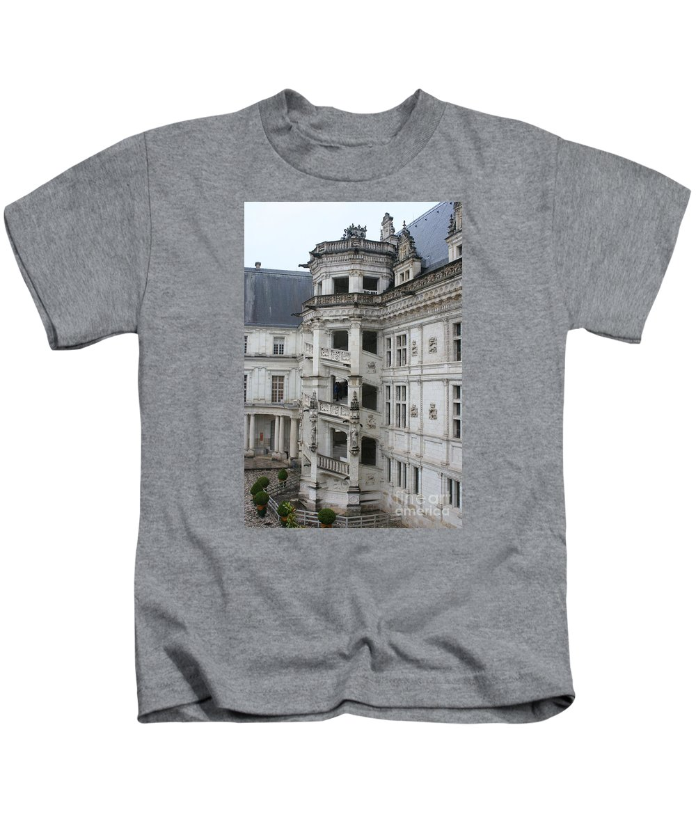 Stairs Kids T-Shirt featuring the photograph Spiral Staircase In The Francois I Wing - Chateau Blois by Christiane Schulze Art And Photography