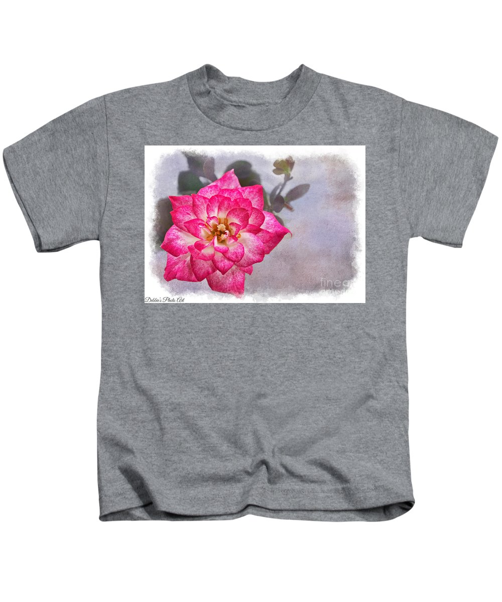 Nature Kids T-Shirt featuring the photograph Thumbelina Rose - Miniature Rose by Debbie Portwood