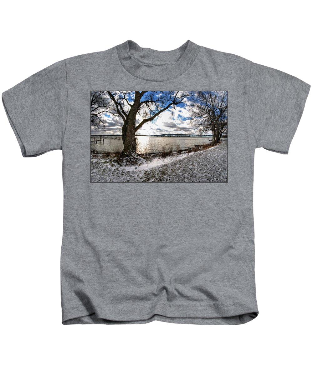 Kids T-Shirt featuring the photograph 0010 Grand Island Bridge Series by Michael Frank Jr