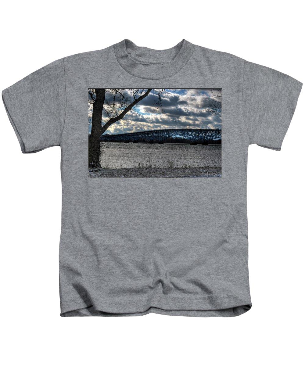 Kids T-Shirt featuring the photograph 0013 Grand Island Bridge Series by Michael Frank Jr