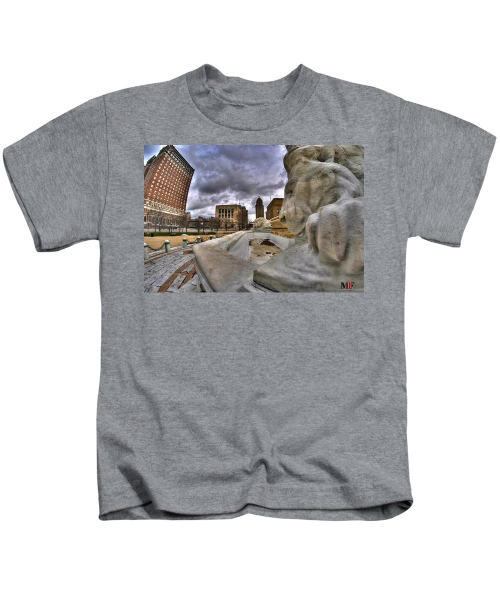 Michael Frank Jr Kids T-Shirt featuring the photograph 0017 Lions At The Square by Michael Frank Jr