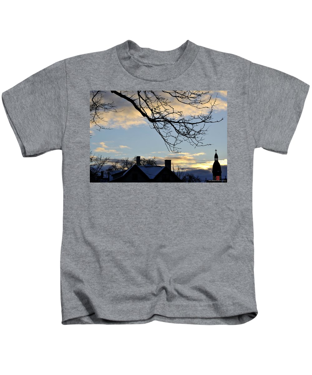 Michael Frank Jr Kids T-Shirt featuring the photograph 002 Cotton Candy Skies With A Lil Snow by Michael Frank Jr