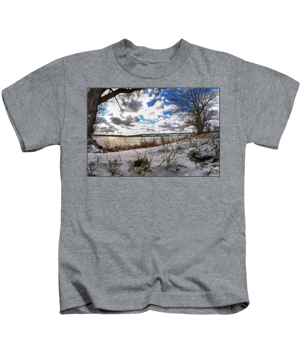 Kids T-Shirt featuring the photograph 007 Grand Island Bridge Series by Michael Frank Jr