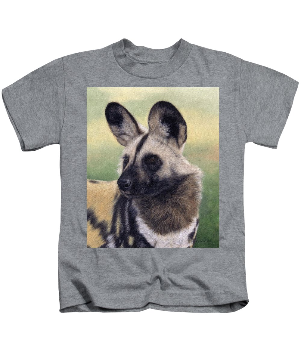 Wild Dog Kids T-Shirt featuring the painting African Wild Dog Painting by Rachel Stribbling