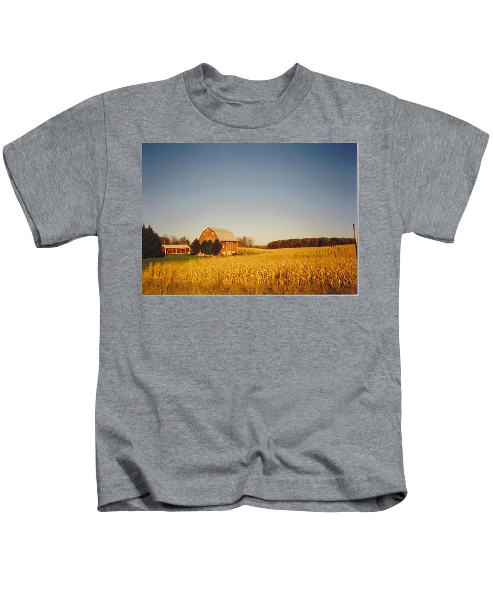 Michigan Barn And Corn Field In Fall Colors. Kids T-Shirt featuring the photograph Barn And Corn Field by Robert Floyd