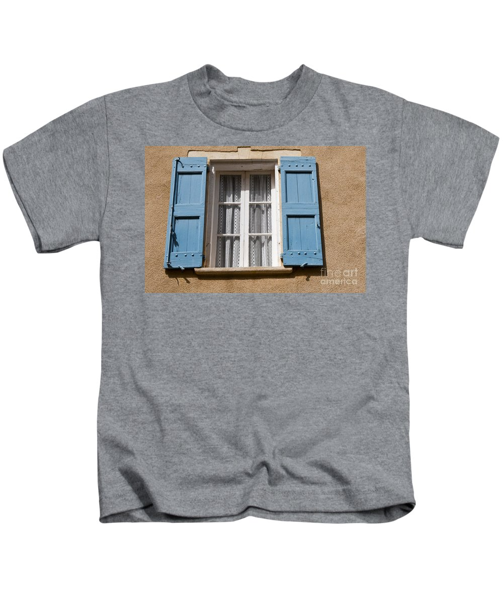 Lourmarin France Window Windows Shutter Shutters Curtain Curtain City Cities Village Villages Cityscape Cityscapes Provence Architecture Kids T-Shirt featuring the photograph Blue And White by Bob Phillips