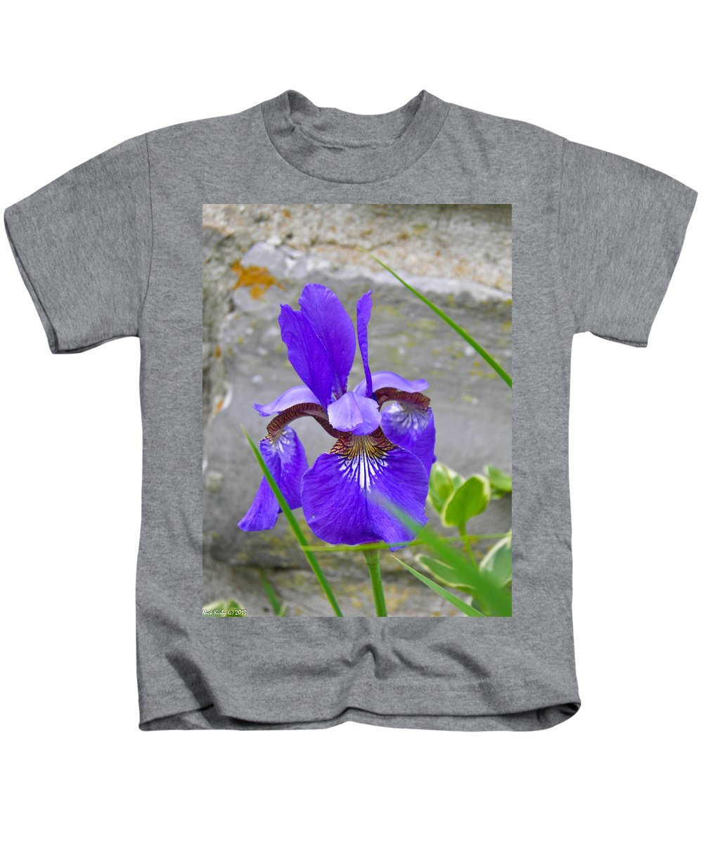 Flower Kids T-Shirt featuring the photograph Blue Iris by Nick Kirby