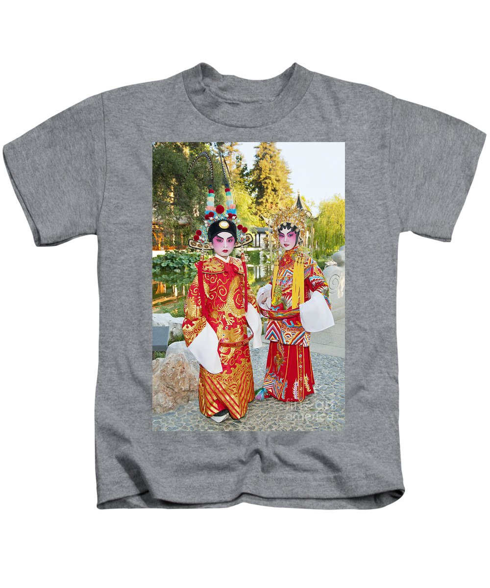Chinese Opera Kids T-Shirt featuring the photograph Children Dressed In Full Traditional Chinese Opera Costumes. by Jamie Pham