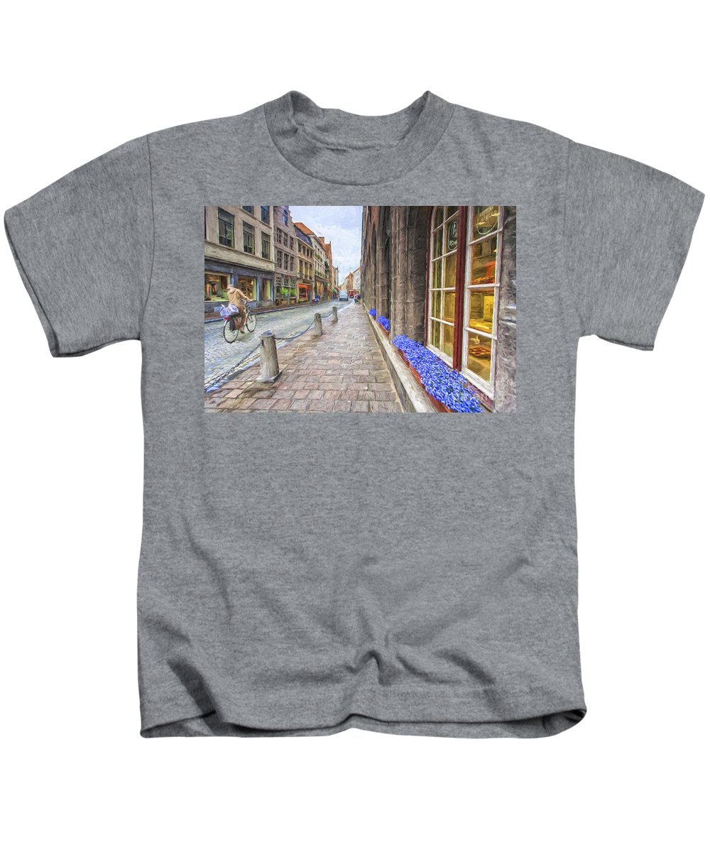 Brugge Kids T-Shirt featuring the photograph Cobbled street in Brugge by Sheila Smart Fine Art Photography