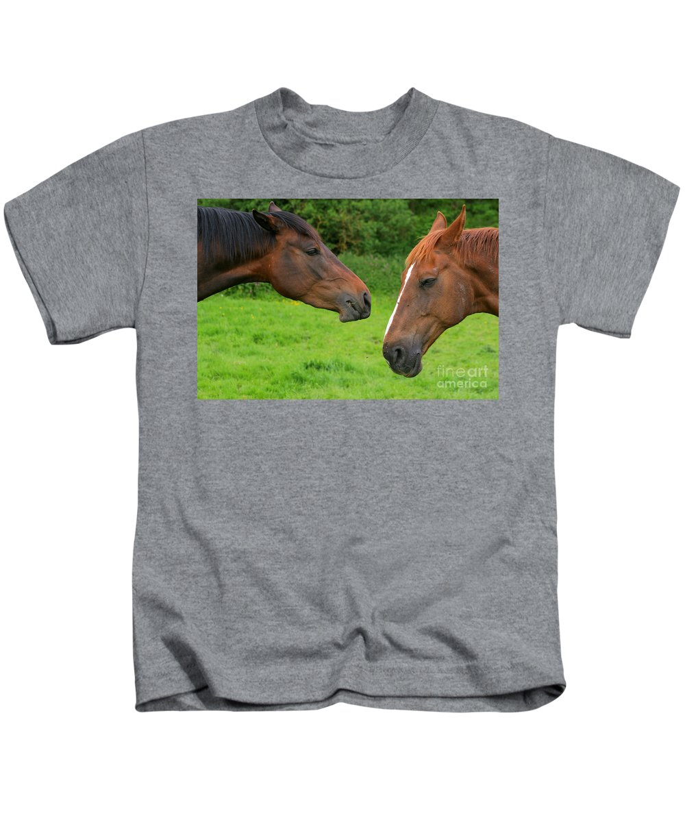 Horse Kids T-Shirt featuring the photograph Conversations by Angel Ciesniarska