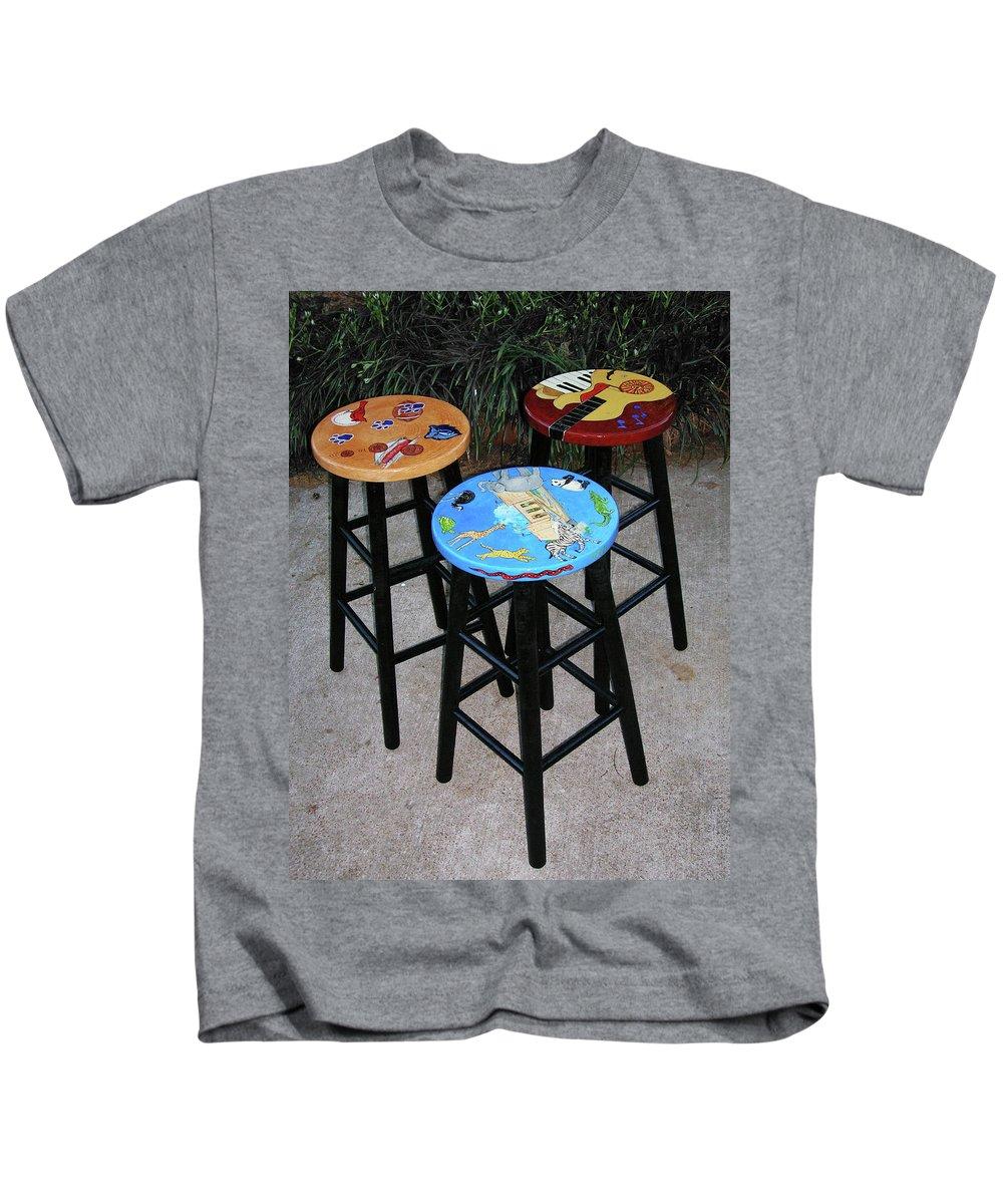 Decorative Painting Kids T-Shirt featuring the painting Custom Barstools by Lizi Beard-Ward
