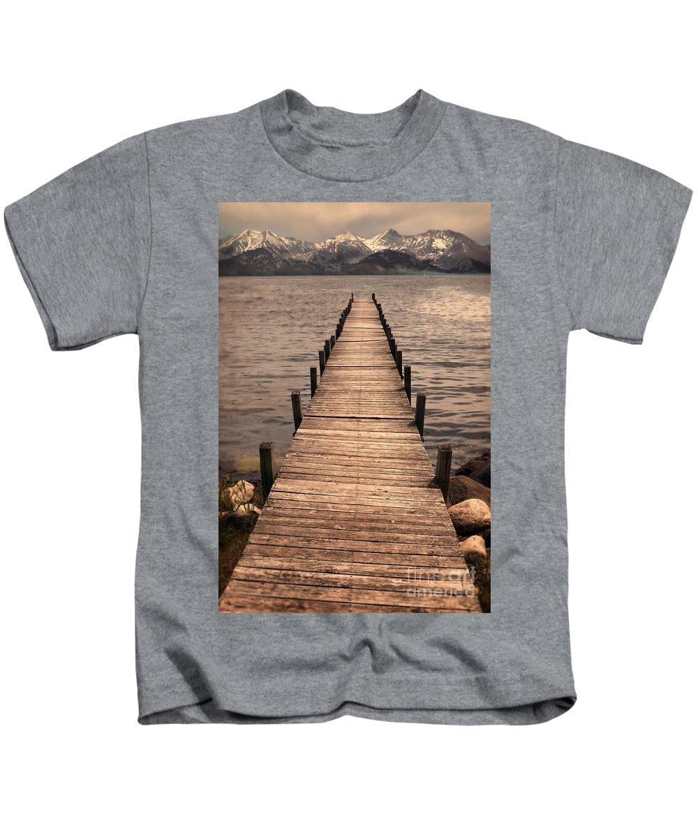 Dock Kids T-Shirt featuring the photograph Dock On Mountain Lake by Jill Battaglia