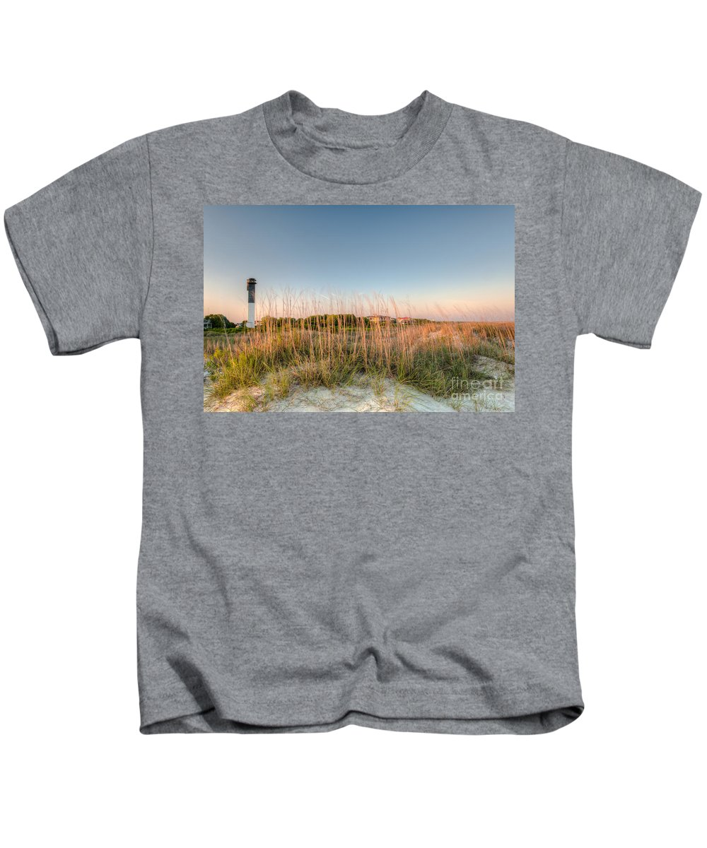 Sullivan's Island Lighthouse Kids T-Shirt featuring the photograph Dunes To Lighthouse by Dale Powell