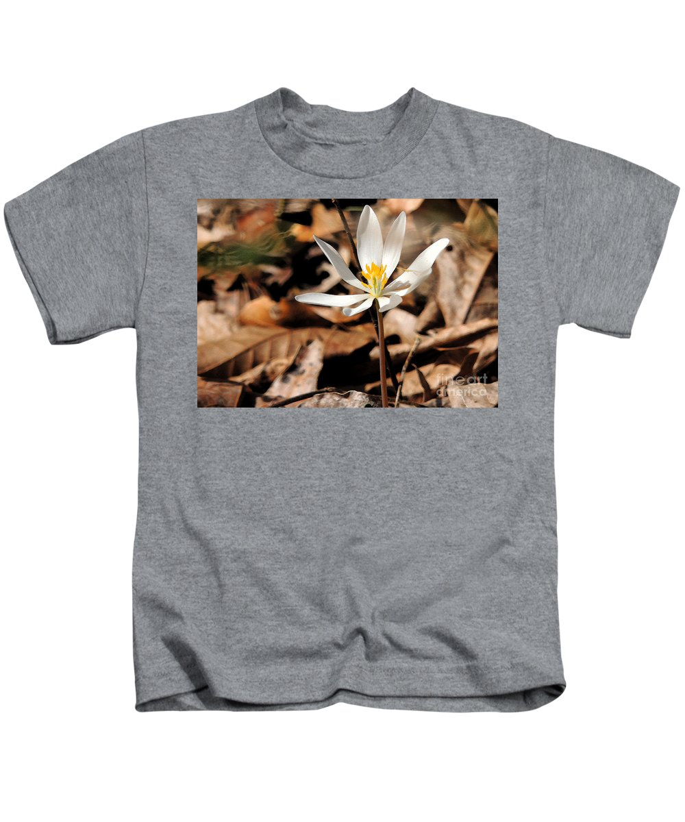 Blood Root Kids T-Shirt featuring the photograph First Sign Of Spring 2 by Lydia Holly