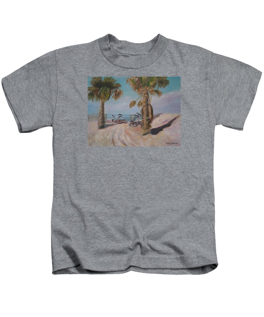 Beach Kids T-Shirt featuring the painting Gone Surfing by Patty Weeks