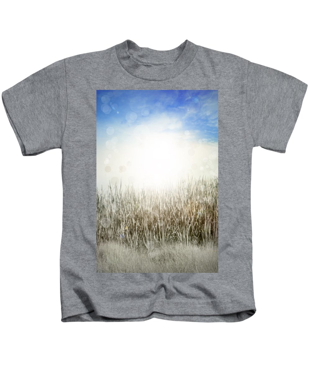 Backgrounds Kids T-Shirt featuring the photograph Grass And Sky by Les Cunliffe