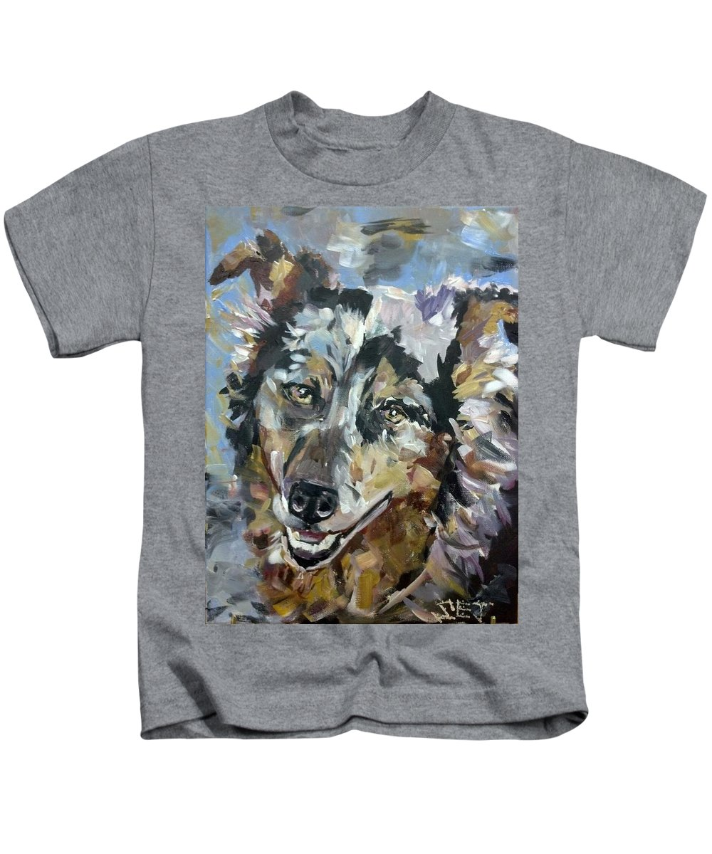 Dog Kids T-Shirt featuring the painting Hank by Susan Elizabeth Jones