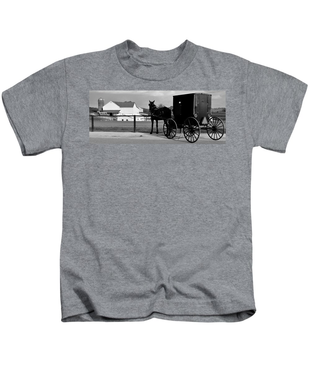 Horse Kids T-Shirt featuring the photograph Horse And Buggy And Farm by Frozen in Time Fine Art Photography