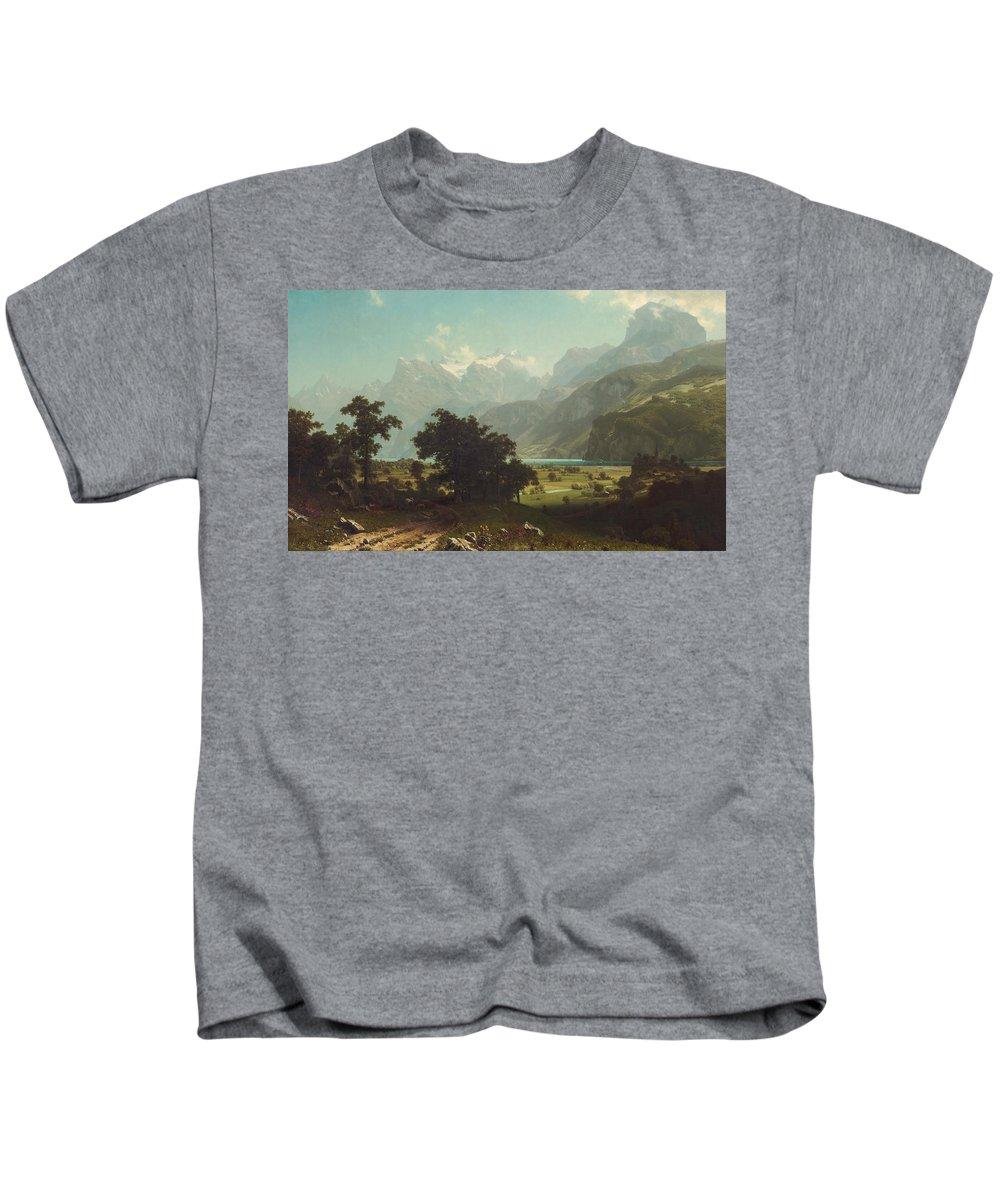 Albert Bierstadt Kids T-Shirt featuring the painting Lake Lucerne by Albert Bierstadt