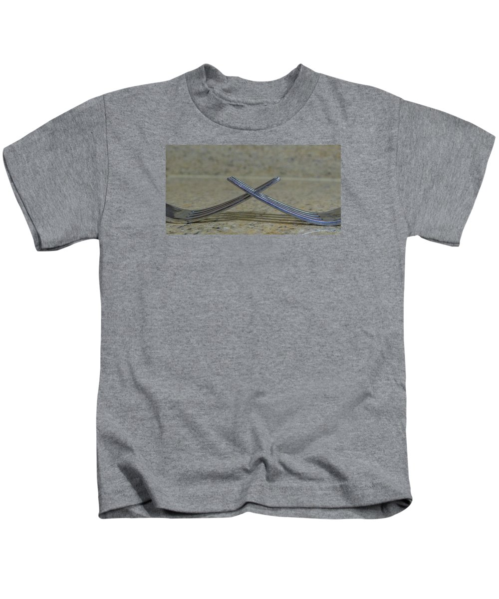 Forks Kids T-Shirt featuring the photograph Lunch by Dennis Dugan