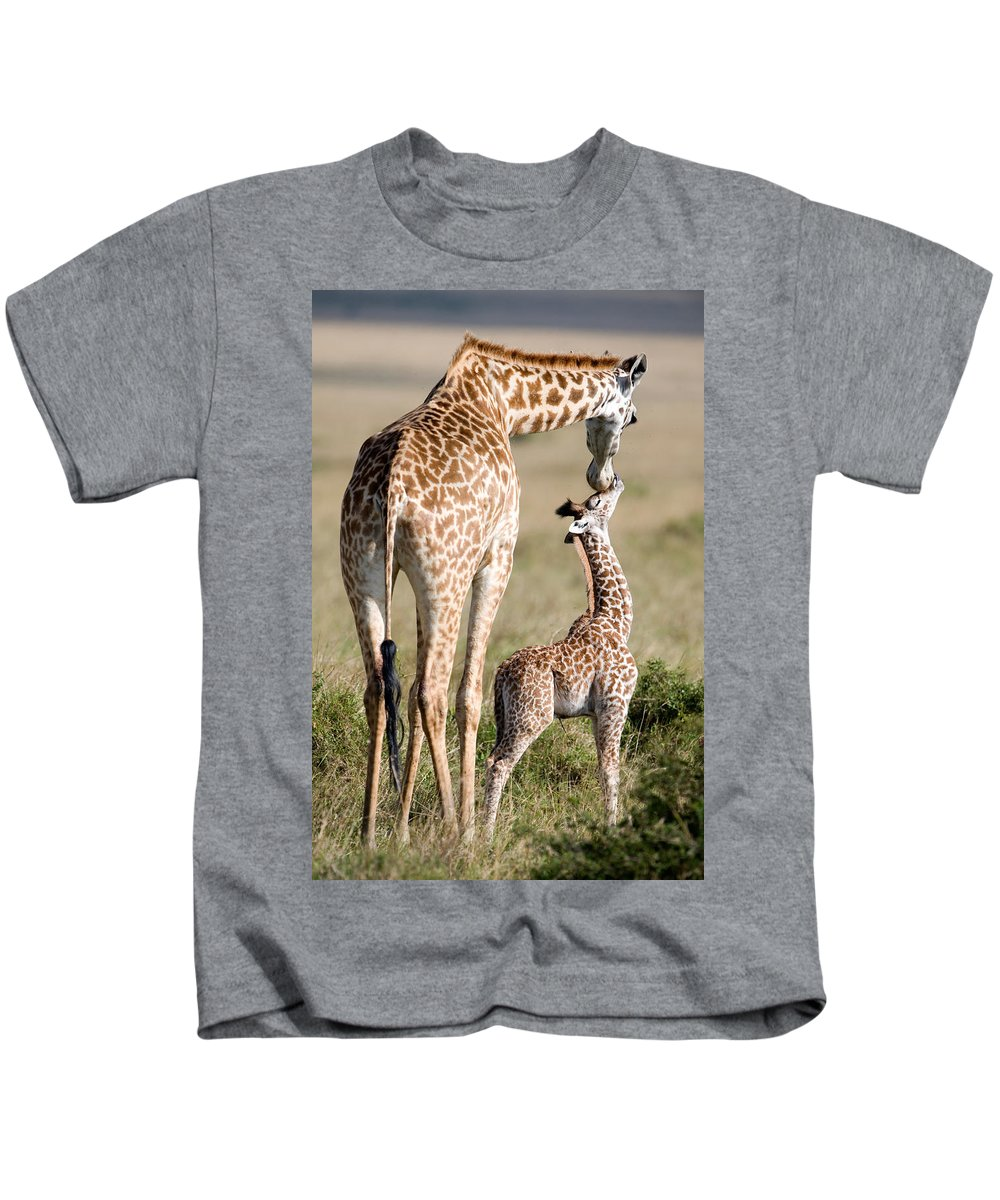 Photography Kids T-Shirt featuring the photograph Masai Giraffe Giraffa Camelopardalis by Panoramic Images