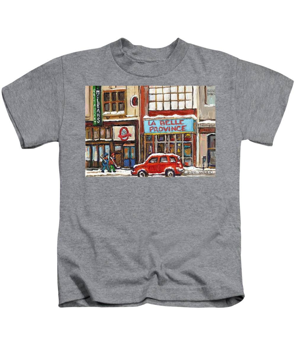 Montreal Kids T-Shirt featuring the painting Mcleans Irish Pub Montreal by Carole Spandau