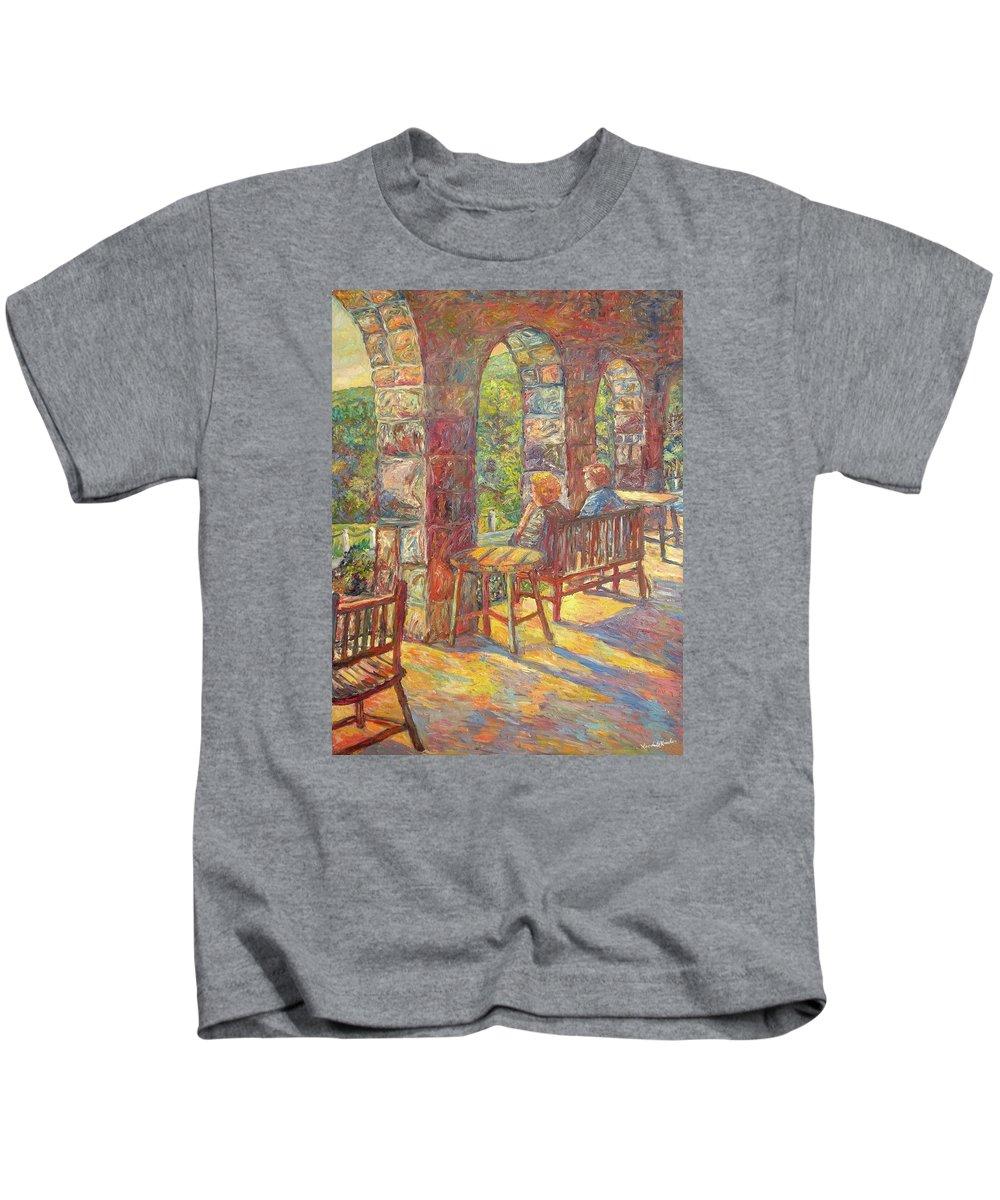 Mountain Lake Kids T-Shirt featuring the painting Mountain Lake Evening by Kendall Kessler