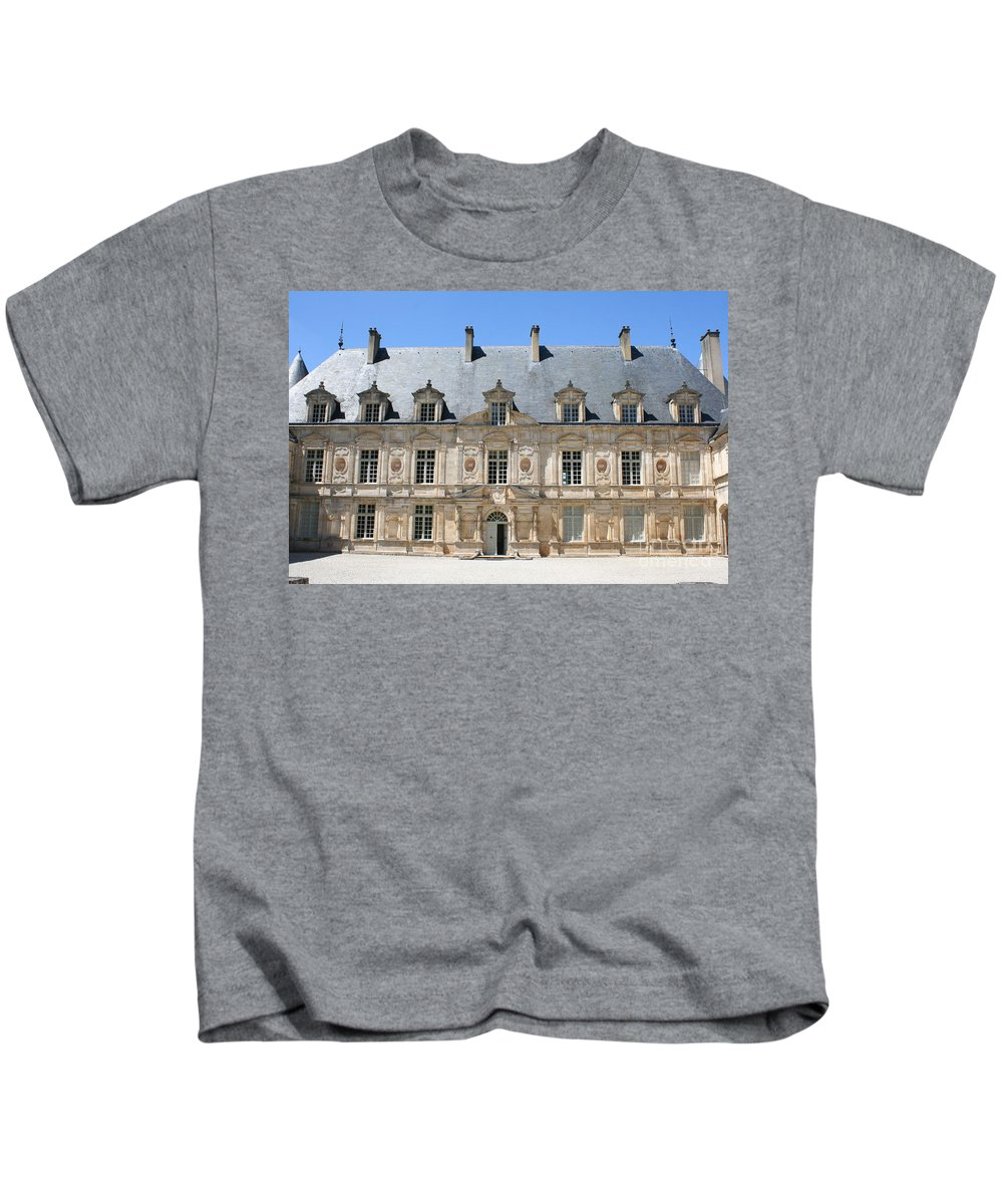Palace.old Building Kids T-Shirt featuring the photograph Palace Bussy Rabutin - Burgundy by Christiane Schulze Art And Photography