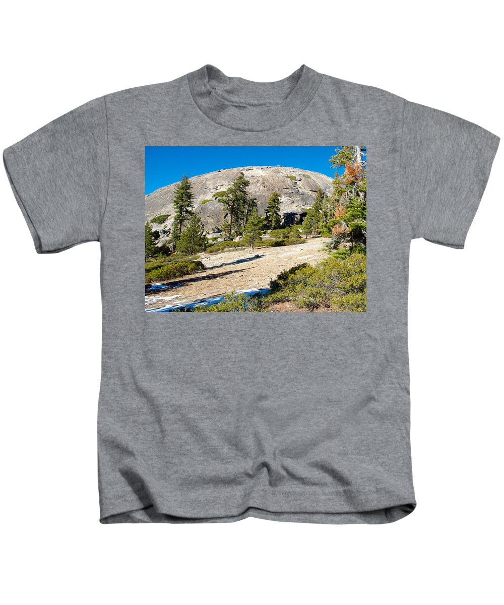 Sentinel Dome From Sentinel Dome Trail In Yosemite Np Kids T-Shirt featuring the photograph Sentinel Dome From Sentinel Dome Trail In Yosemite Np-ca by Ruth Hager