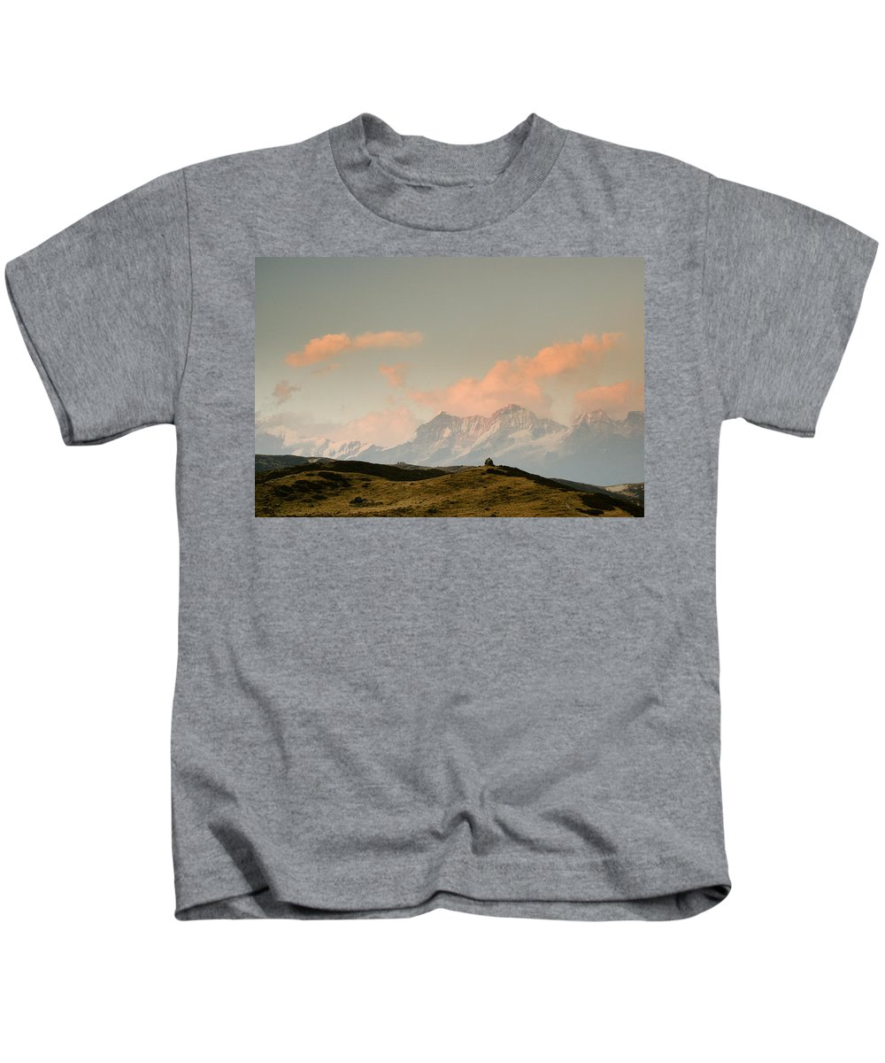 Himalayas Kids T-Shirt featuring the photograph Stupas And The Himalayas by Helix Games Photography