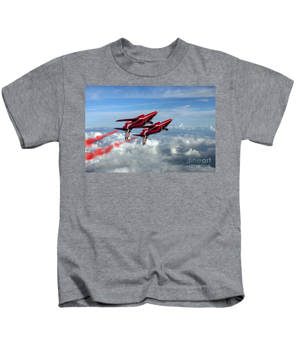 Red Arrows Kids T-Shirt featuring the digital art Synchro Pair by J Biggadike