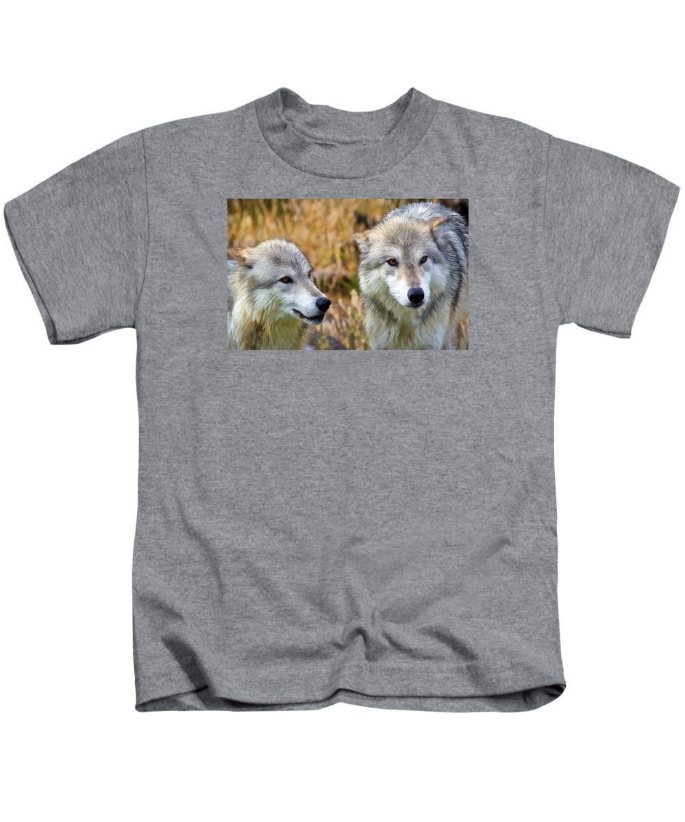 Wolves Kids T-Shirt featuring the photograph The Eyes Have It by Athena Mckinzie