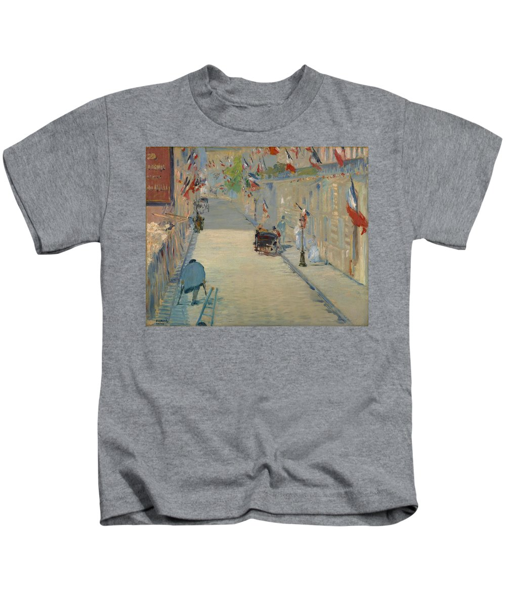 1878 Kids T-Shirt featuring the painting The Rue Mosnier With Flags by Edouard Manet