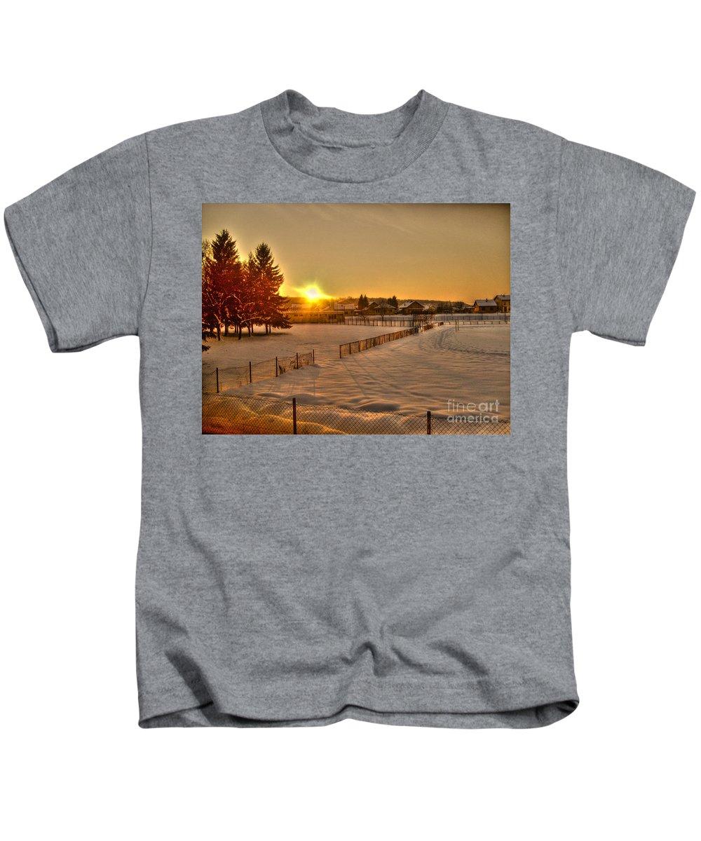 Winter Kids T-Shirt featuring the photograph Winter Sunset by Nina Ficur Feenan