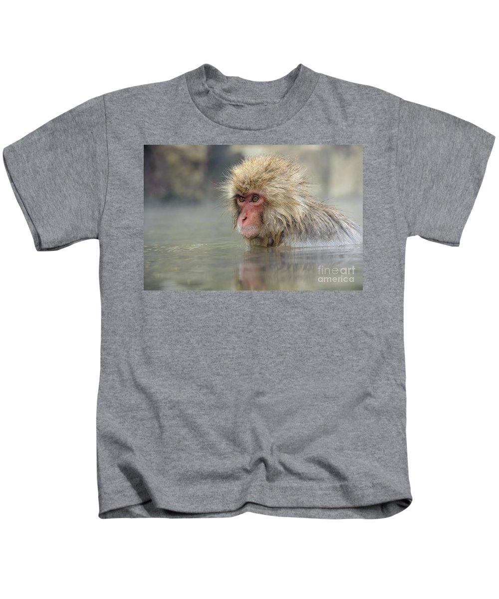 Japanese Macaque Kids T-Shirt featuring the photograph Snow Monkeys by John Shaw
