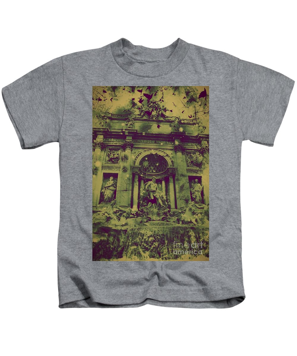 Trevi Fountain Kids T-Shirt featuring the digital art Trevi Fountain by Marina McLain