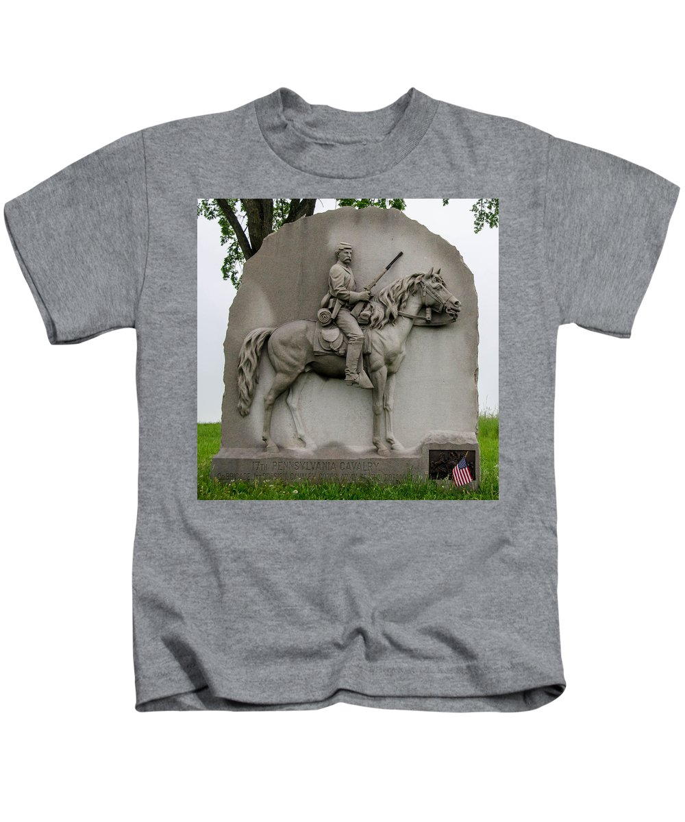 17th Pennsylvania Cavalry Kids T-Shirt featuring the photograph 17th Pennsylvania Cavalry by Guy Whiteley