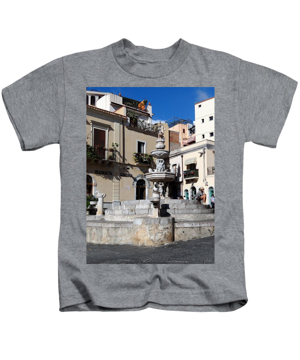 Mediterranean Kids T-Shirt featuring the photograph Another View Of An Old Unused Fountain In Taormina Sicily by Richard Rosenshein
