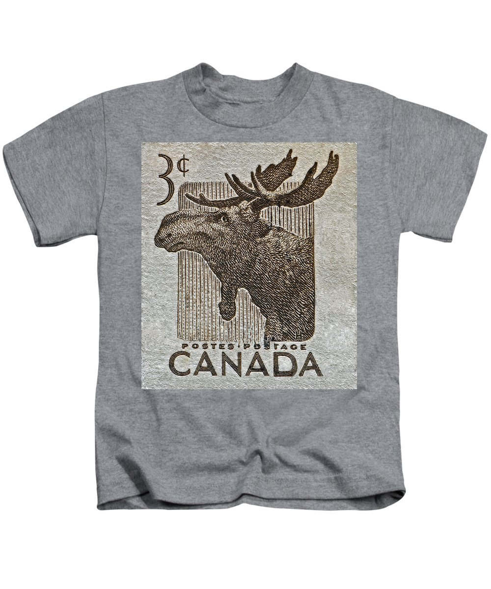 1957 Kids T-Shirt featuring the photograph 1953 Canada Moose Stamp by Bill Owen