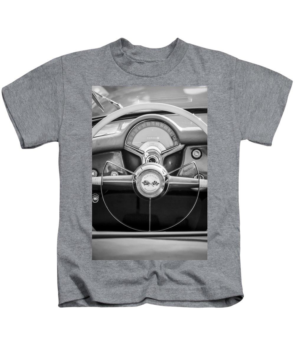 1954 Chevrolet Corvette Steering Wheel Kids T-Shirt featuring the photograph 1954 Chevrolet Corvette Steering Wheel -382bw by Jill Reger