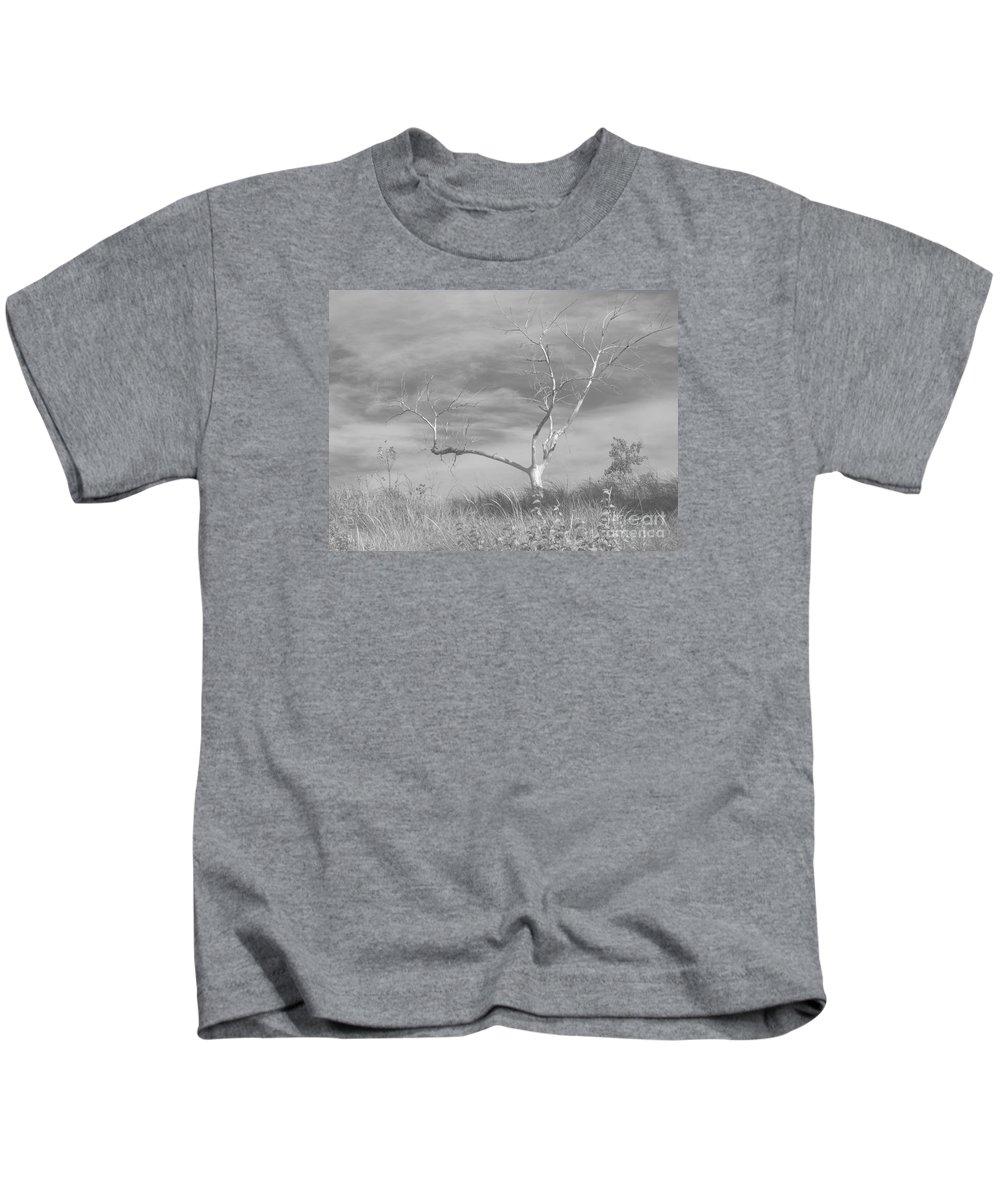 Tree Kids T-Shirt featuring the photograph Bereft by Ann Horn