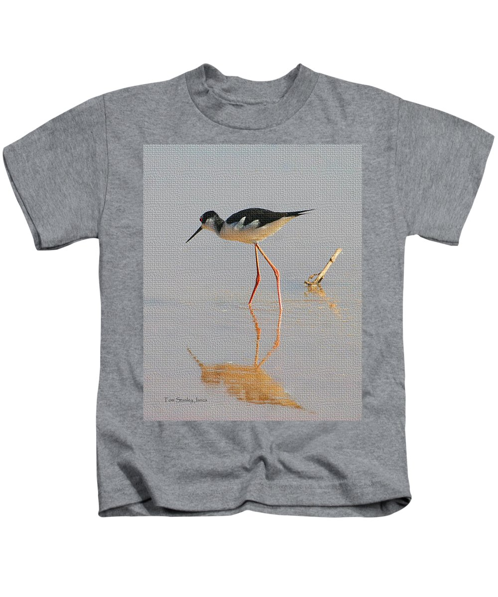 Pelican Flying Low Kids T-Shirt featuring the photograph Black Neck Stilt by Tom Janca