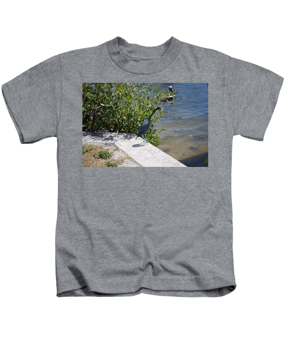 Hunting Food Kids T-Shirt featuring the photograph Blue Heron by Robert Floyd