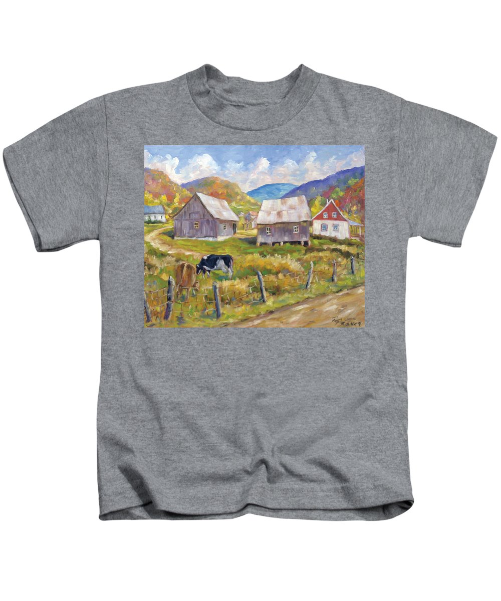 Art Kids T-Shirt featuring the painting Charlevoix North by Richard T Pranke