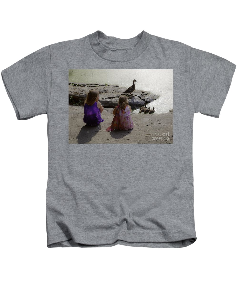 Children Kids T-Shirt featuring the photograph Children At The Pond 3 by Madeline Ellis