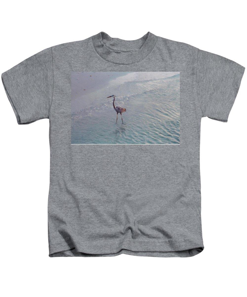 Sanibel Kids T-Shirt featuring the photograph Great Blue Heron by Robert Floyd