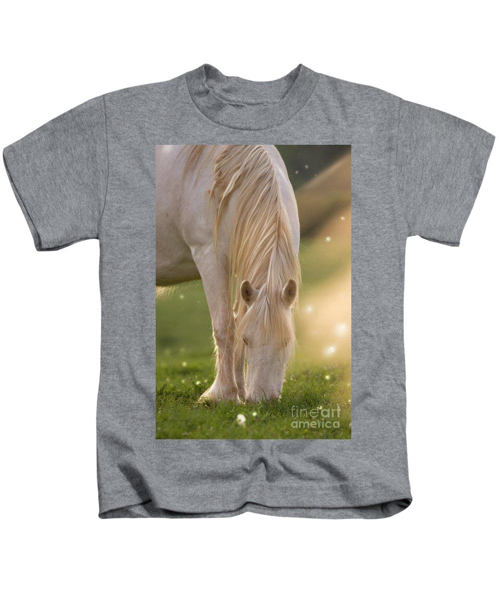 Unicorn Kids T-Shirt featuring the photograph In The Land Of Unicorns by Angel Ciesniarska